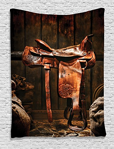Ambesonne Western Decor Collection, Rodeo Cowboy Leather Western Saddle on Wood Beam in Rustic Ranch Wood Barn Picture, Bedroom Living Boys Room Dorm Accessories Wall Hanging Tapestry, Dark Brown