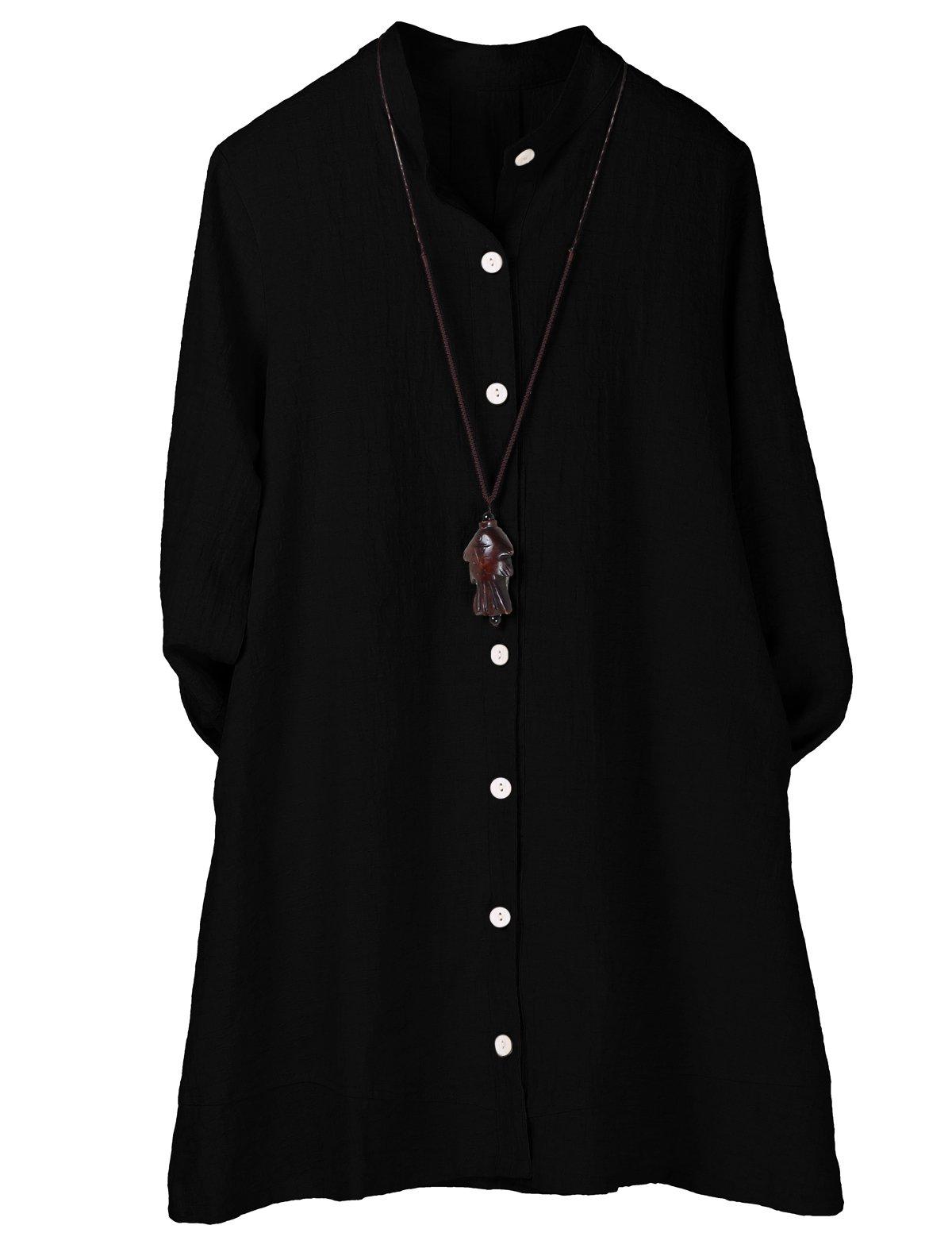 Minibee Women's Button Down Jacket Long Sleeve Jacquard Blouses Cardigan Black L
