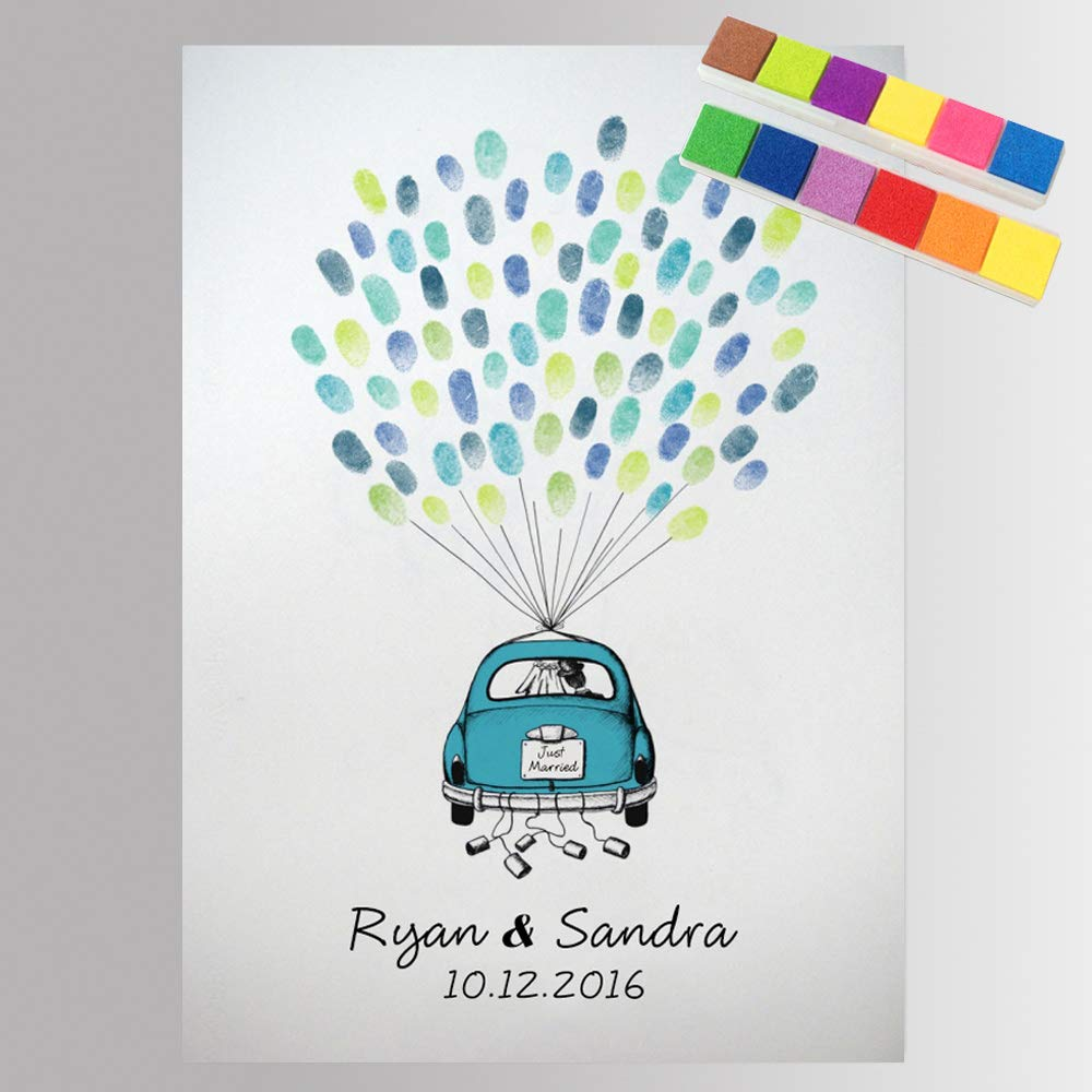 Fingerprint Guest Book for Wedding Decorations Personalized Wedding Car with Balloons DIY Thumbprint Sign in Book for Guests with Ink Pad -60x80cm