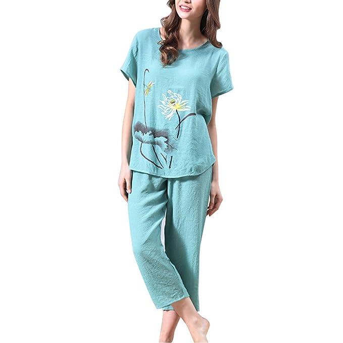 SYGoodBUY Pijamas de Algodón Mujer de Primavera y Verano,Ropa de Dormir con Manga Corta