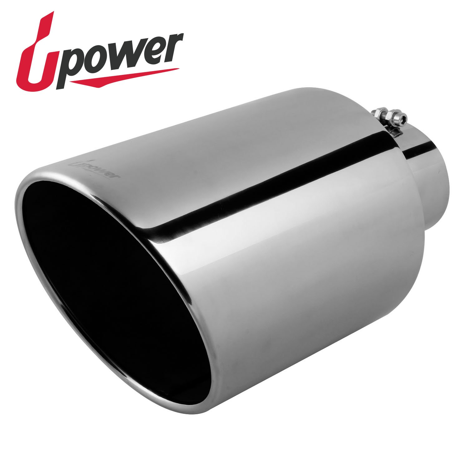 Upower 5 Inch Inlet 10' Outlet Exhaust Tip 18' Long Stainless Steel Bolt-On PartsSquare