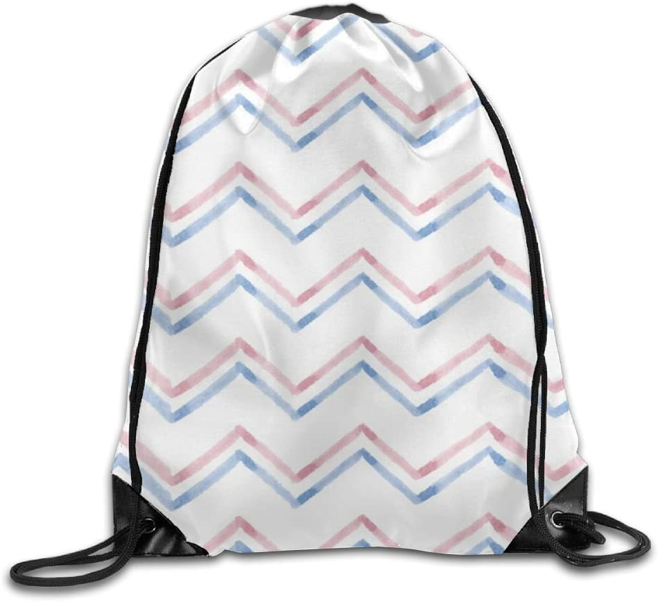 VIMUCIS Watercolor Pink Blue Stripe Drawstring Backpack Rucksack Shoulder Bags Training Gym Sack For Man And Women