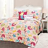 4 Piece Pink Lovely Mermaid Theme Quilt Twin Set, Beautiful Waves Stripes Background, Pretty Fishes, Starfish, Seahorses, Deep Sea Animals Print Reversible Bedding, Polyester, For Girls/Teens