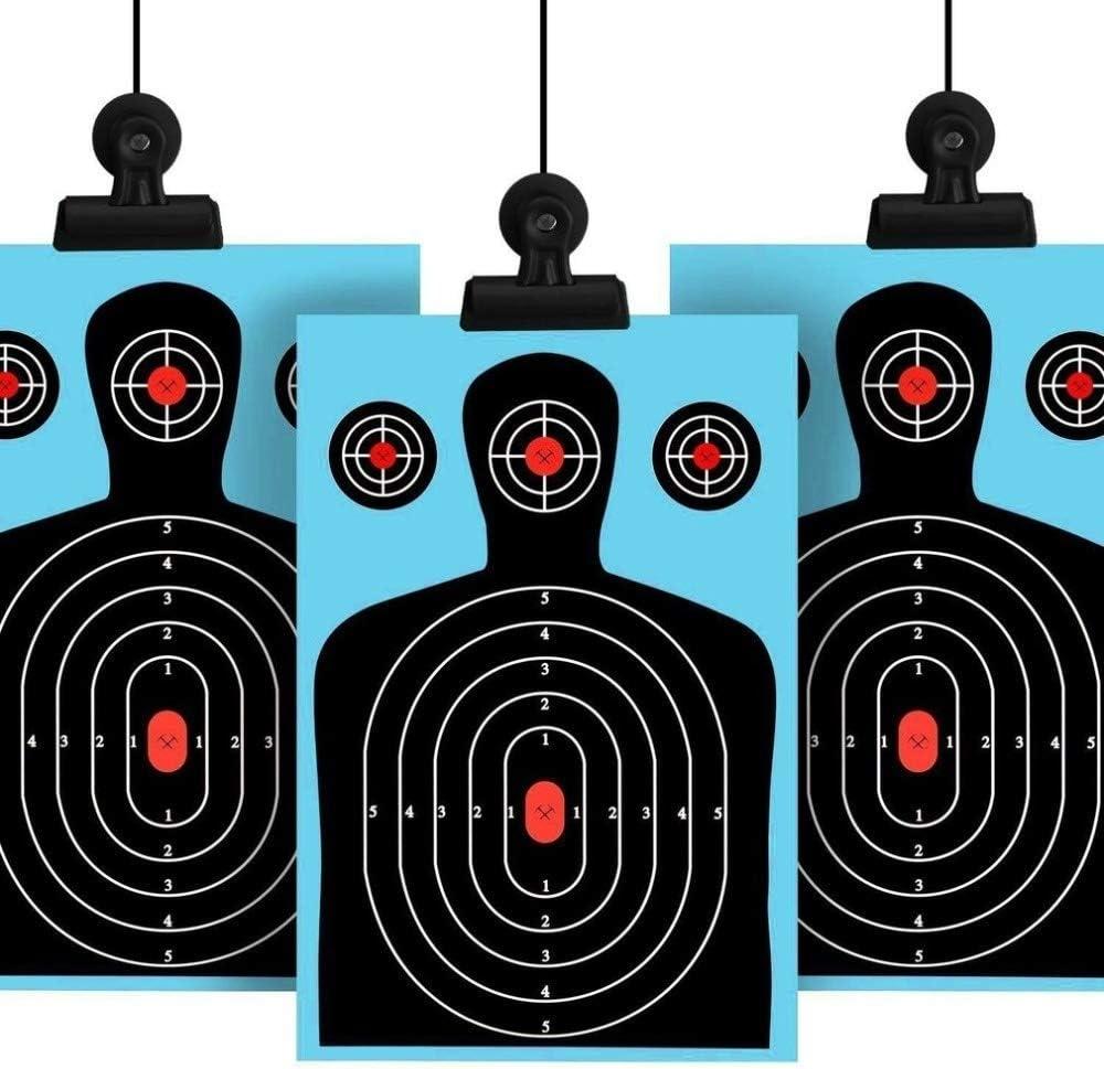 NO LOGO Lixia-Target, 10Pack Blancos de Tiro 12 * 18 Pulgadas Silueta Poor Salpicadura de Papel Reactive Objetivos Fluorescente Rifle Pistola Airsoft Pistola de balines