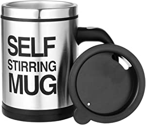 Smart Self Stir Mug Automatic Self Stirring Stainless Steel Electric Mug with Airtight Silicone Seal and Powered by 2 AAA Batteries,13 oz (Classic Silver)