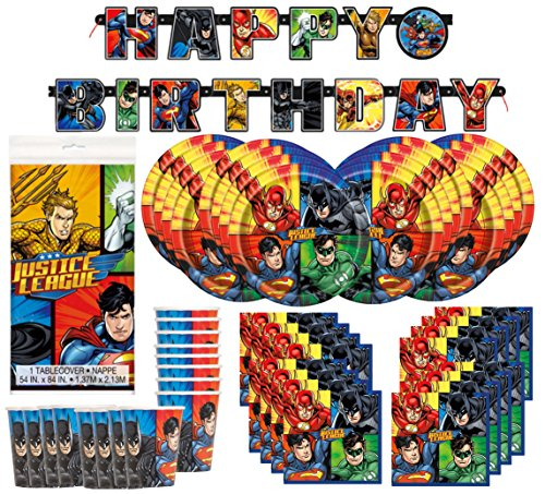 Party Super Deluxe Pack Comics Superhero (DC Comics Justice League Superheros Birthday Party Supplies Pack Bundle serves 16 ; Plates, Cups, Napkins, Banner, & Table)