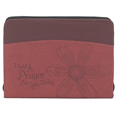 Said a Prayer for You Burgundy 7 x 9.5 Leather Like Vinyl Thinline Bible Cover Case