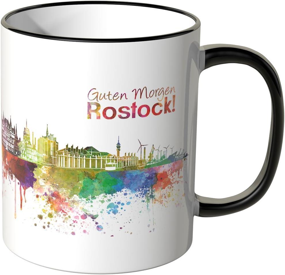 BLAU Wandkings/® Tasse Schriftzug Guten Morgen Rostock mit Skyline