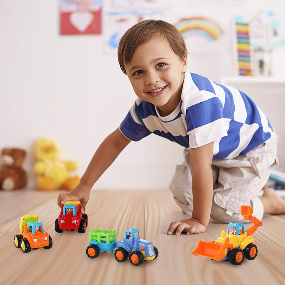Zamango Friction Powered Cars Push and Go Car Construction Vehicles Toys Tractor Bulldozer Cement Mixer Truck Dumper for Toddler Toys Baby Boy Gifts Set of 4