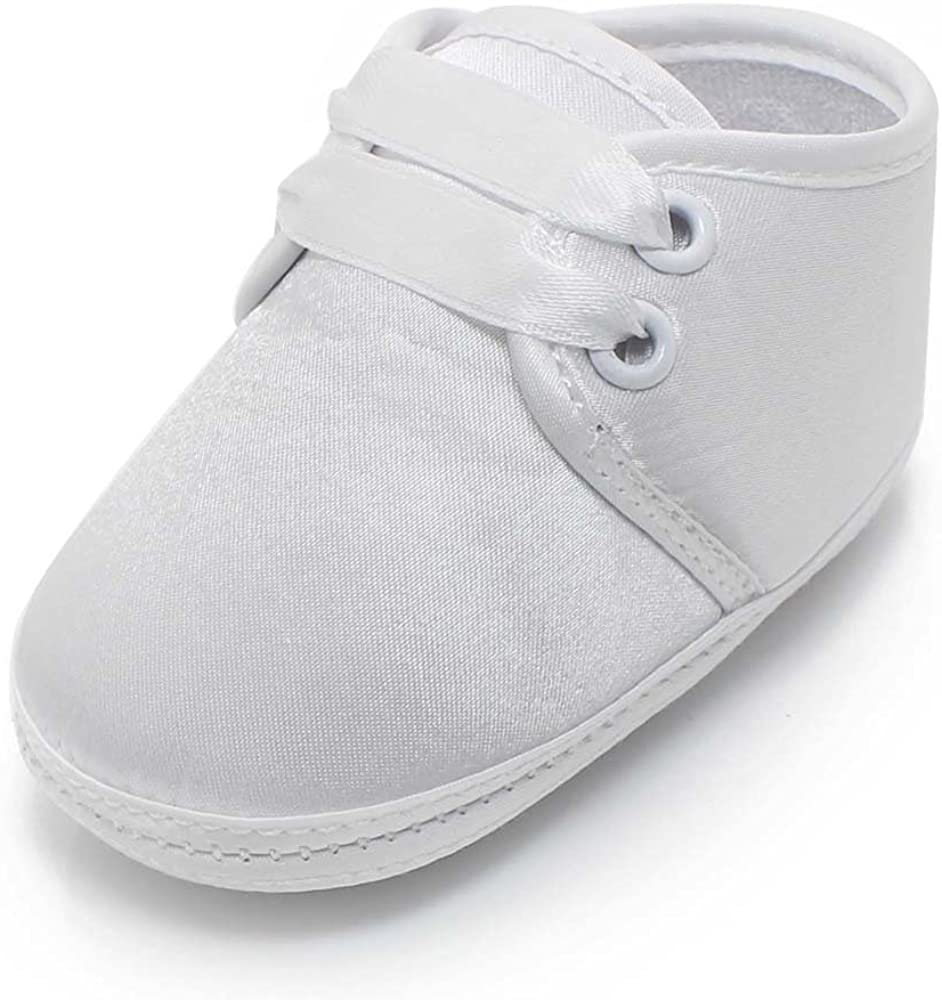 Delebao Baby Infant Lace Up Satin White Shoes Bootie Slippers Sneakers