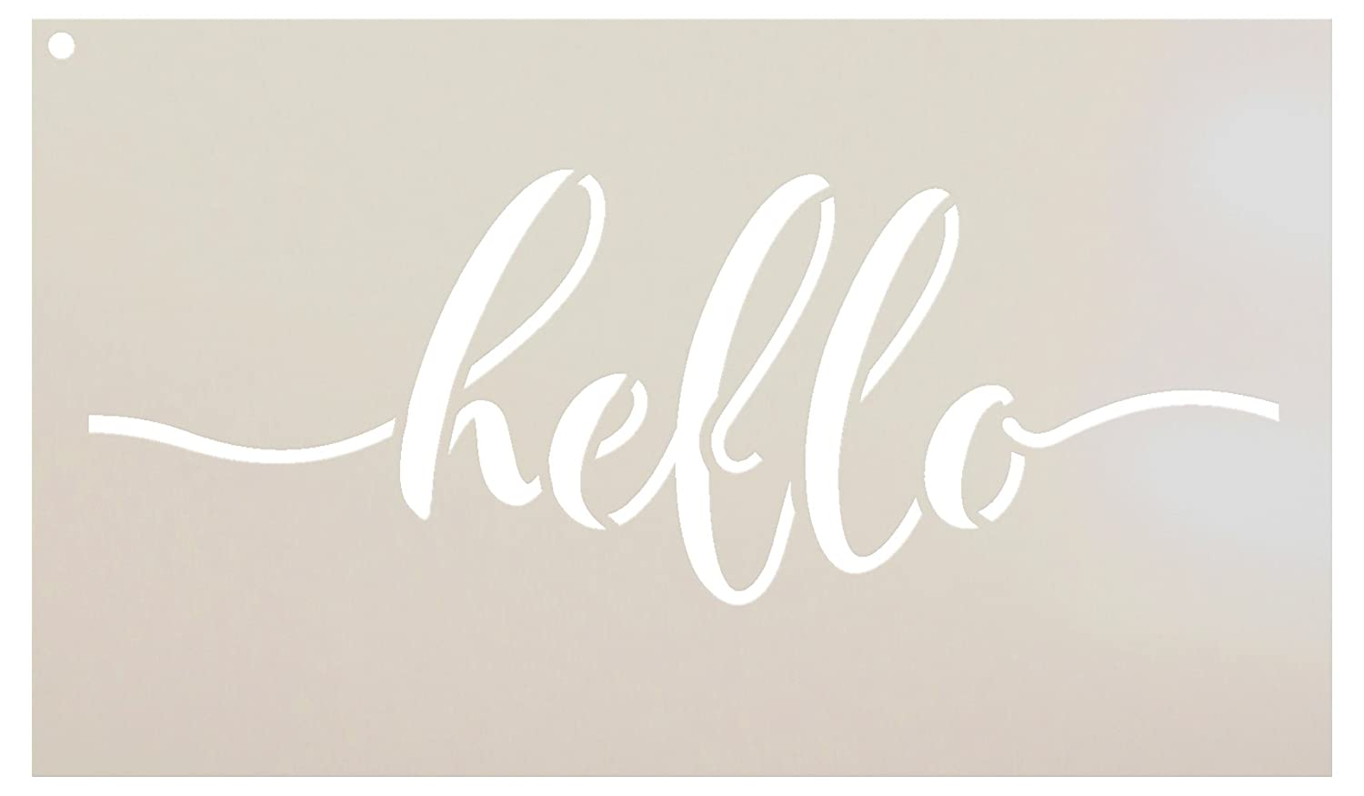 Rustic Hello Stencil by StudioR12 | Hand Drawn Script - Reusable Mylar Template | Painting, Chalk, Mixed Media | Use for DIY Home Decor - STCL1517 - SELECT SIZE (18 x 9) Studio R 12