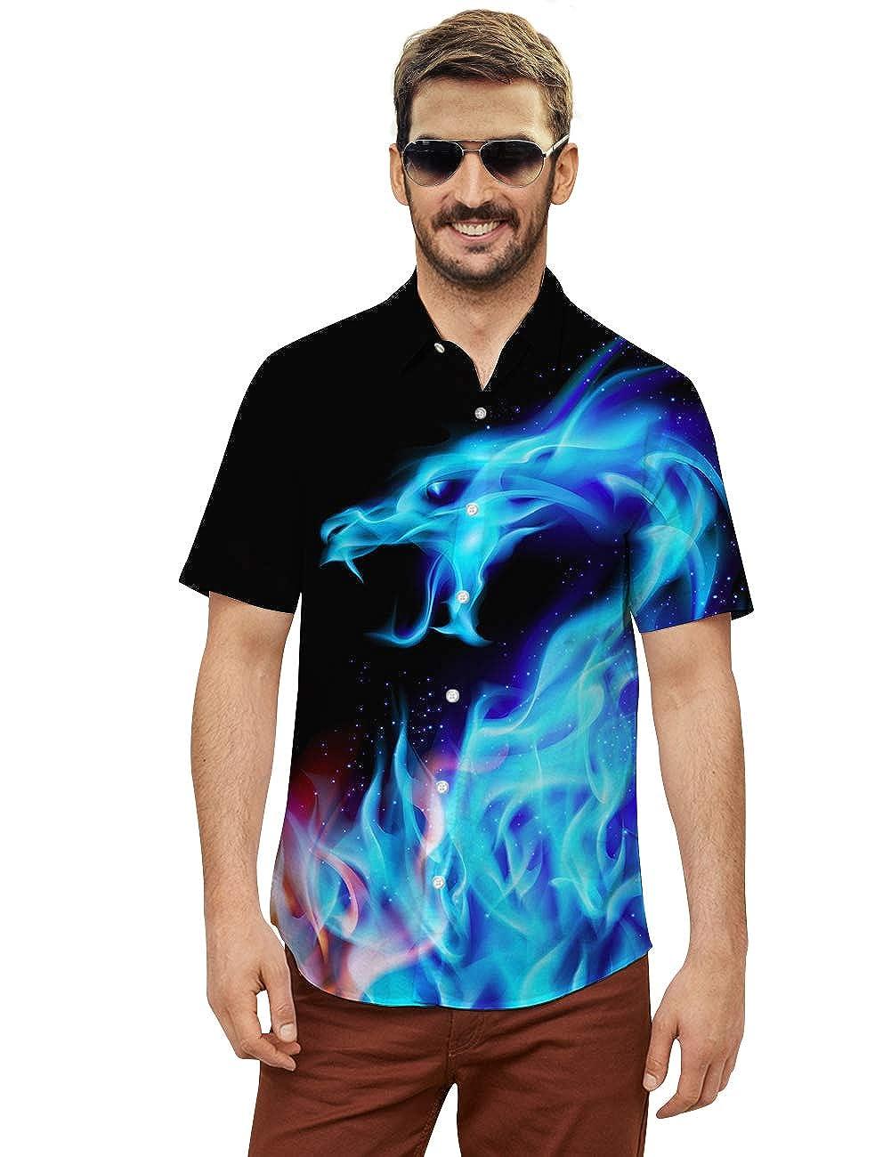 Goodstoworld 2020 Mens Button Down Shortsleeve Unique Hawaiian Shirts