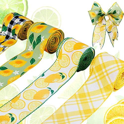 JOLYMAKER Printed Lemon Ribbon Fabric 4 Rolls 26 Yards x 2.5in Wide Yellow Decorative Ribbon Wired for Cake Decorating, Gift Wrapping, Wreaths, Baby Shower, Crafts