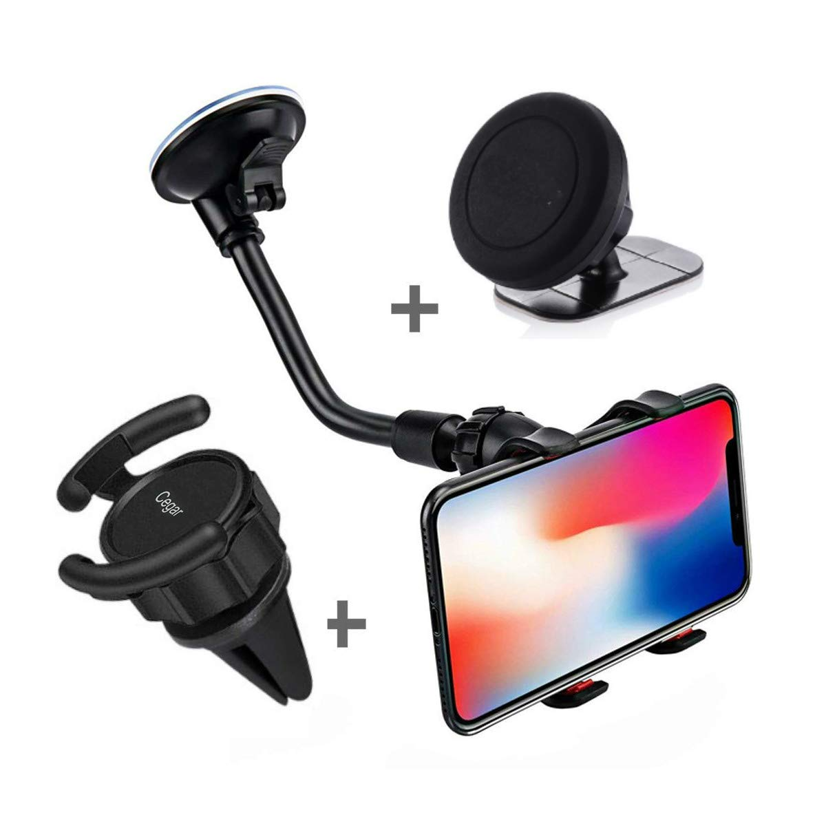 Cegar Car Phone Mount 5-in-1Universal Phone Holder Air Vent Car Mount Holder Dashboard Mount Windshield Mount for GPS Navigation and Any Smartphone 4351488867
