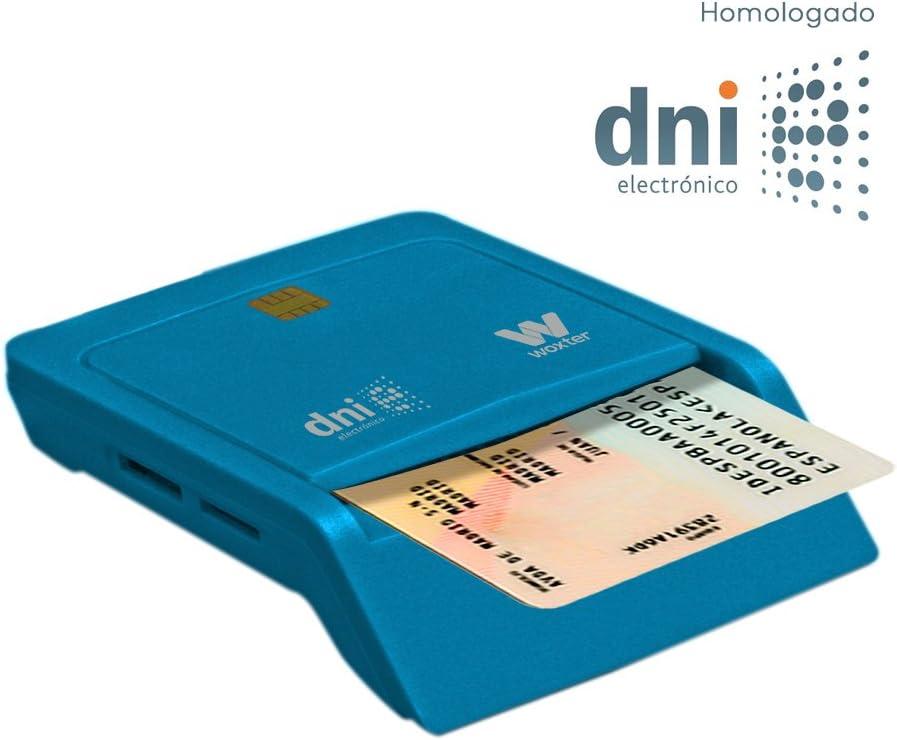 Woxter Lector Dni Combo - Lector DNI electrónico, Compatible con Las Tarjetas Smart Cards o Tarjetas Inteligentes, con 3 Ranuras para Tarjetas, Color Azul: Amazon.es: Informática