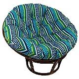 Blazing Needles Patterned Outdoor Spun Polyester Papasan Cushion, 52'', Pike Azure