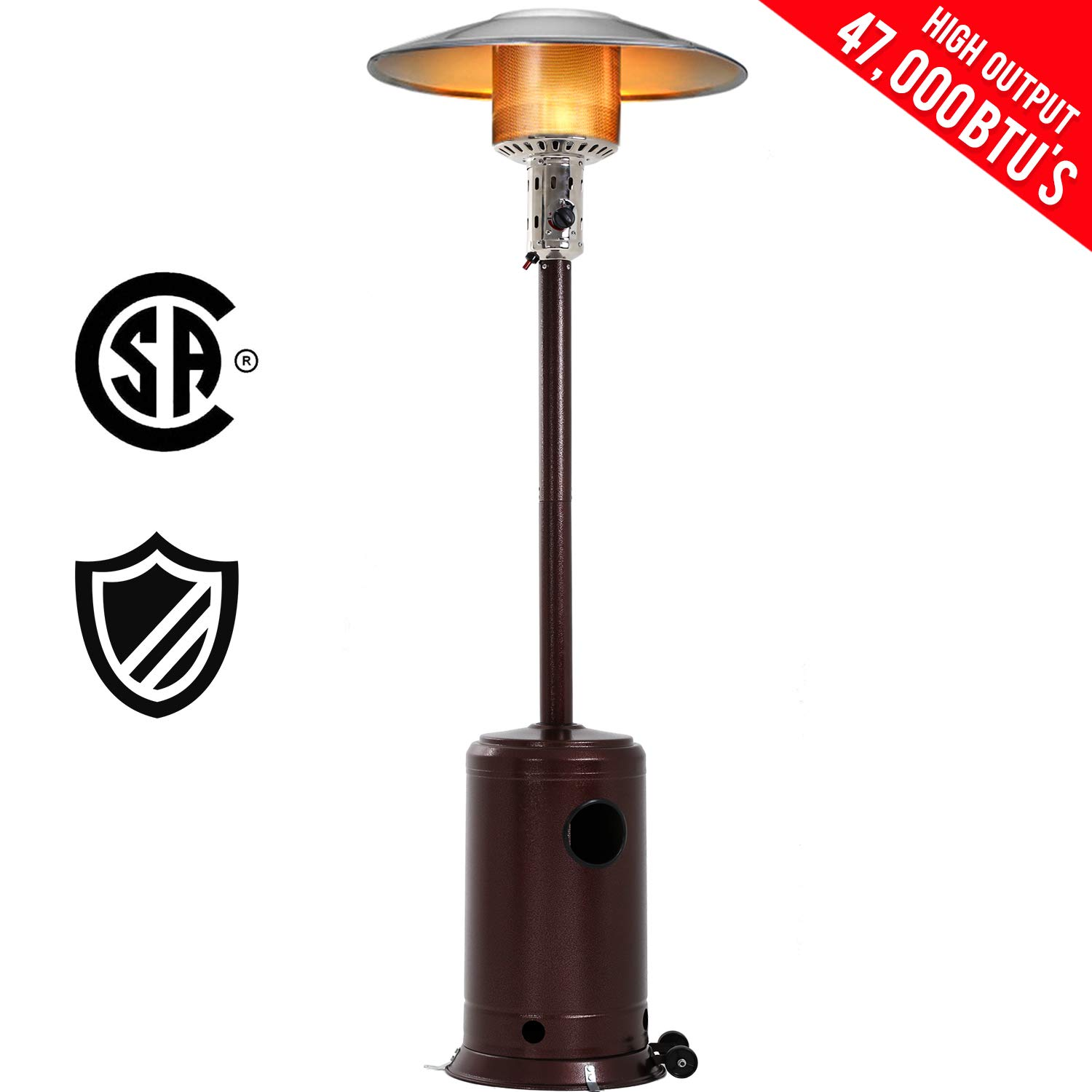 Patio Heater Tall Hammered Finish Garden Outdoor Heater Propane Standing LP Gas Steel w/Accessories by FDW