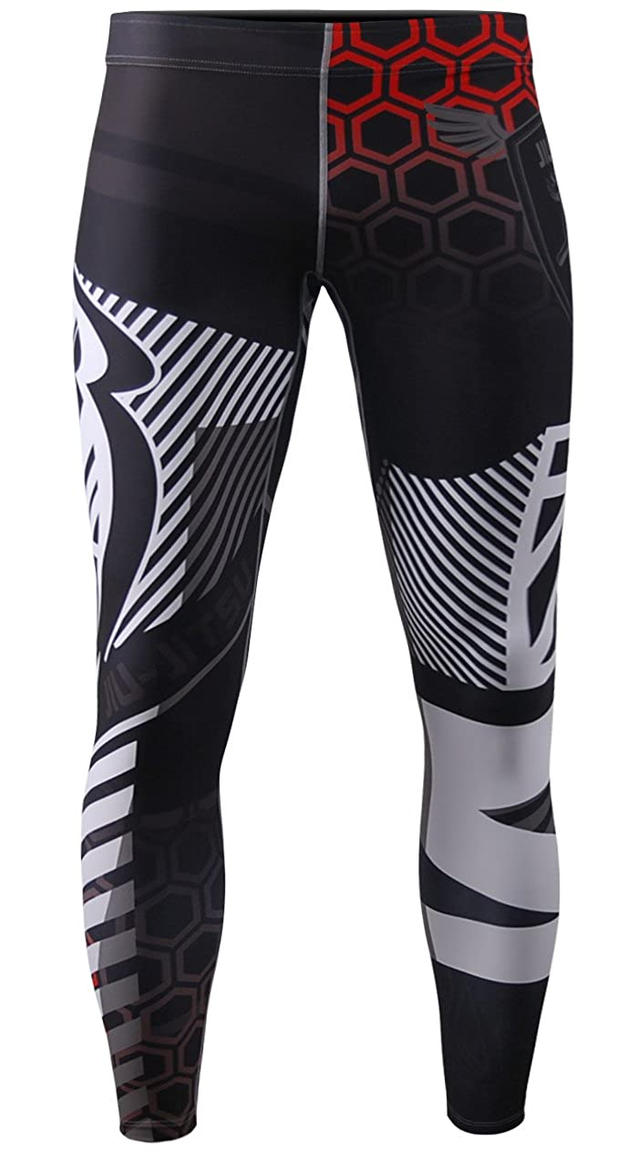 zipravs Men's Compression Jogging MMA Jiu Jitsu Workout Long Tight Pants Leggings