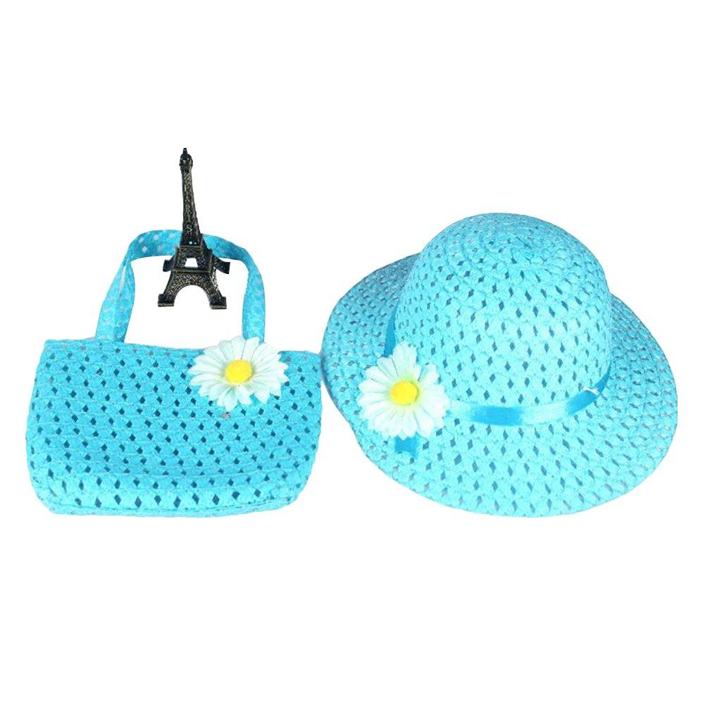 Braceus Sunflower Girl Summer Hat, Hot Summer Spring Beach Little Princess Baby Kids Girl Flower Straw Sun Hat and Bag Gift (Blue)
