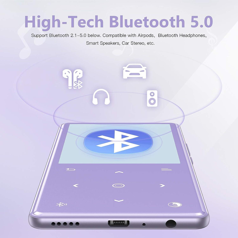 con Auriculares Soporte hasta 128 GB AGPTEK Bluetooth 5.0 Reproductor MP3 Altavoz Incorporado 16GB Reproductor de M/úsica con Bot/ón T/áctilde 2.4 Pulgadas Radio FM