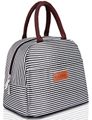 BALORAY Lunch Bag Tote Bag Lunch Organizer Lunch Holder Lunch Container (Brown White Stripes)