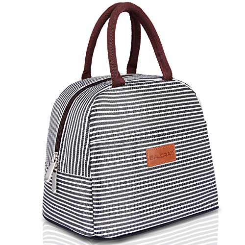 BALORAY Lunch Bag Tote Bag Lunch Organizer Lunch Holder Lunch Container (Brown White Stripes) ()