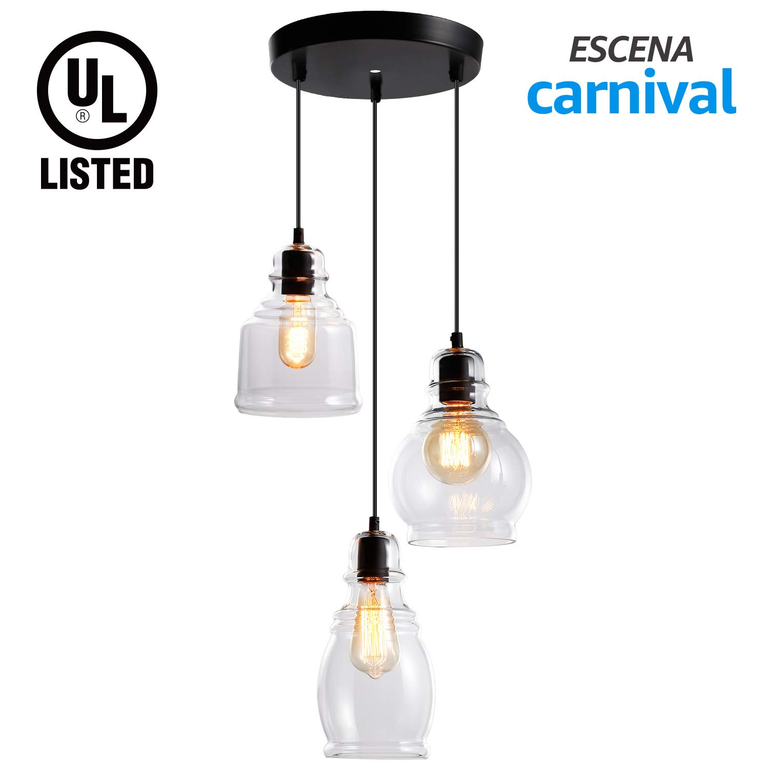 ESCENA Glass Pendant Light, UL-Listed Classic Hanging Lighting Fixture, Elegant Antique Clear Jar Chandelier, for Kitchen Sink, Dinning Room, Bar, Cafe by ESCENA