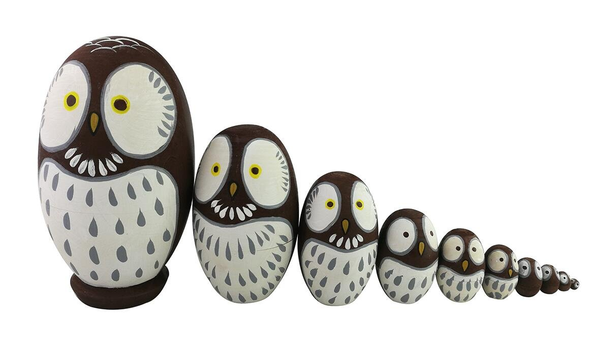Adorable Lovely Animal Theme Big Round Eyes Brown Wise Owl Egg Shape Wooden Handmade Nesting Dolls Matryoshka Dolls Set 10 Pieces for Kids Toy Birthday Home Kids Room Decoration by Winterworm (Image #8)