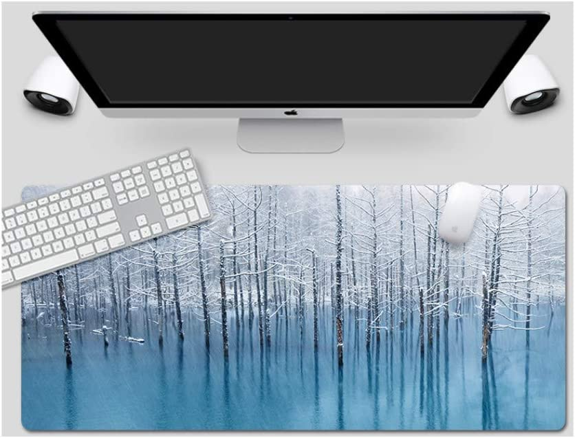 Frozen Forest Style Desk Pad Large Padded Waterproof Non-Slip Keyboard Pad Suitable for Desktop Computer//Notebook,1200x600mmx3mm Mouse Pad