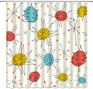 Mid Centruy Shower Curtain Vintage Atomic Starbursts Stars Sputnik Absctract Geometric Space Retro 1950S 1960S Fabric Bathroom Decor Curtain with 12 Hooks,71x71 Inch,Orange Yellow Teal