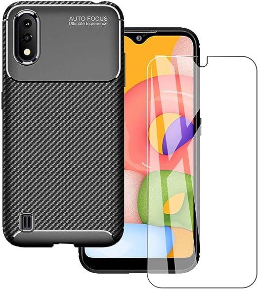 KZIOACSH Coque pour Samsung Galaxy A01 avec écran de portage, TPU souple et résistant aux chocs et fibre de carbone