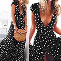 Wensltd Womens Summer Boho Long Maxi Beach Party Dress (L, Black)