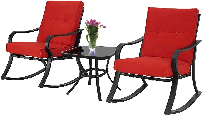 Cemeon Outdoor 3-Piece Rocking Chairs Patio Bistro Set