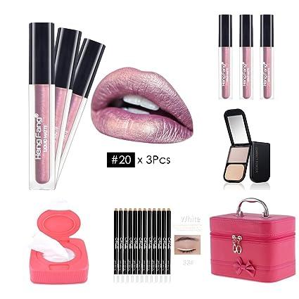 Homyl Juego de Cosmético, Estuche de Maquillaje Impermeable + Paleta de Corrector Facial + Toallitas