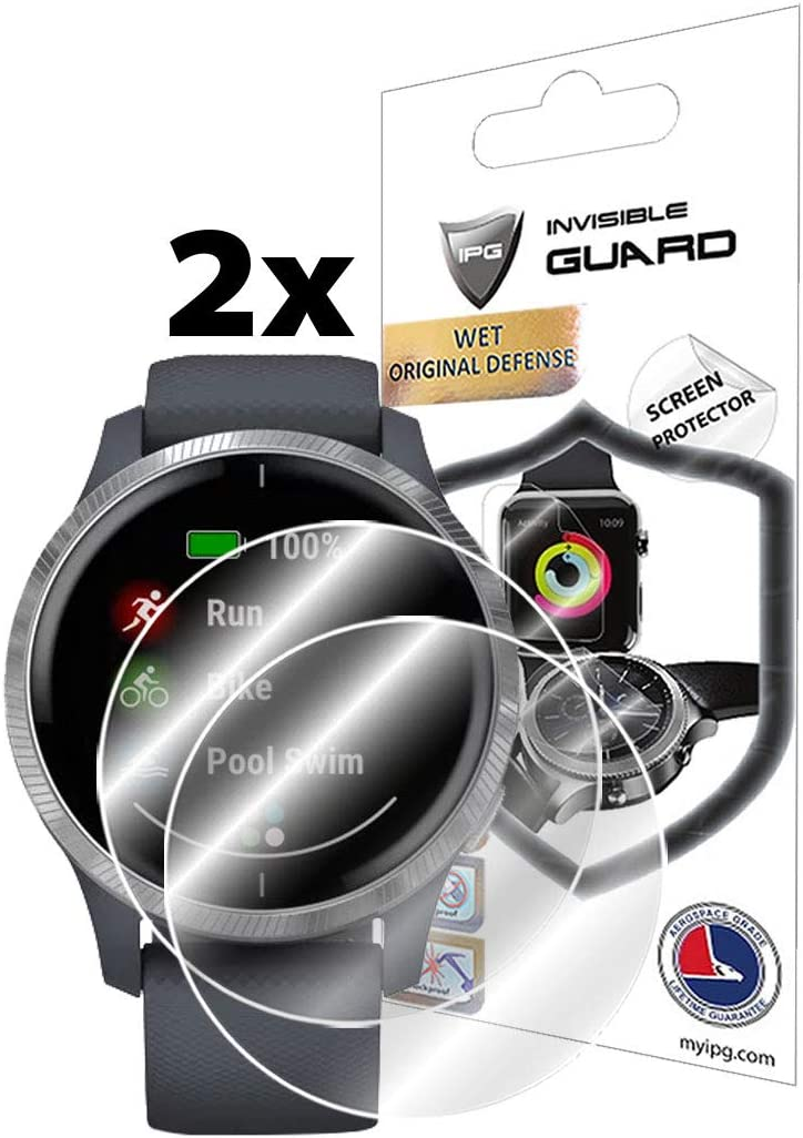 Invisible Ultra HD Clear Film Anti Scratch Skin Guard IPG for Garmin Venu GPS Smartwatch Screen Protector 2 Units Smooth//Self-Healing//Bubble -Free by