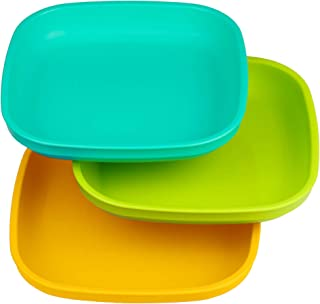 product image for Re-Play Made In USA 3pk Plates with Deep Sides for Baby, Toddler - Aqua, Lime Green & Sunny Yellow (Aqua Asst.)