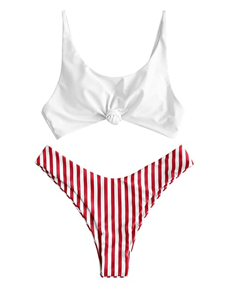 Amazon.com: ZAFUL traje de baño de 2 piezas con nudo a rayas ...