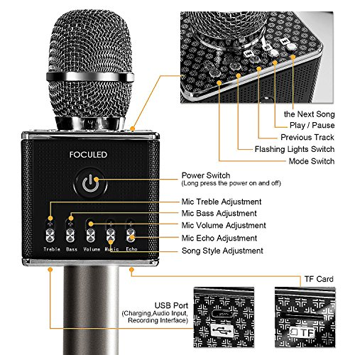 Portable Wireless Bluetooth Karaoke Microphone with LED lights, Built-in HIFI Dual-Speaker 10W and 2600mAH battery capacity, Handheld karaoke Mic Speaker Machine for Home KTV Birthday Party by FOCULED (Image #3)