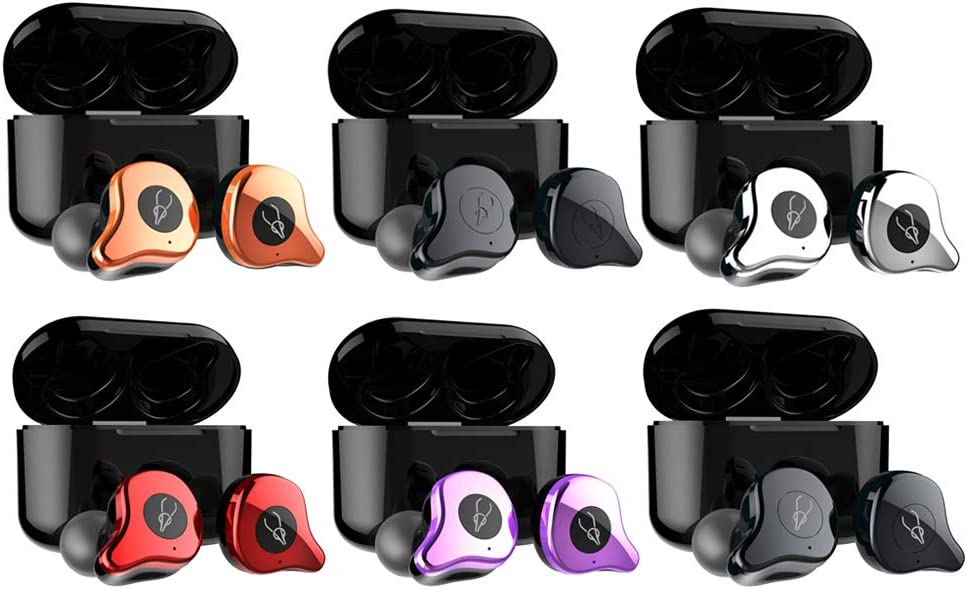 SDENSHI Wireless Earbuds Bluetooth 5.0 - Ear Buds Earphones TWS with Charging Case, 40H Playtime Stereo Sound Sports Bluetooth Earbuds in-Ear Built-in Mic - Red Gilding Copper