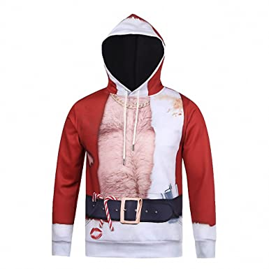 Crochi Autumn Winter 3D Graphic Hoodies Christmas Costumes For Men Festival Party Clothing With Hooded Santa