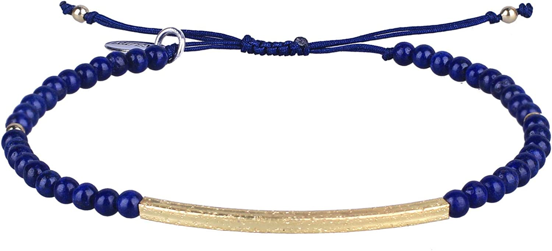 Kelitch - Pulsera de abalorios para mujeres y hombres, chapada en oro, con piedra natural, trenzada hecha a mano, pulsera de la amistad