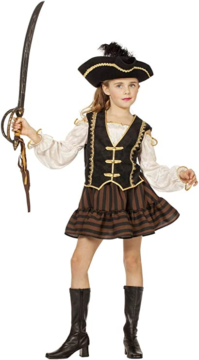 Child Pirate Girl in Brown and Gold Girls Costume: 5-6y: Amazon.es ...
