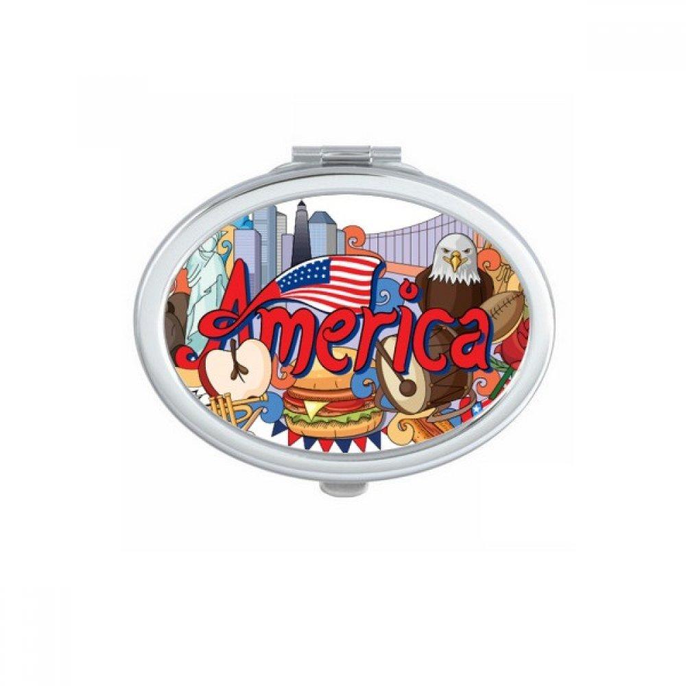 Eagle Liberty Burger America Graffiti Oval Compact Makeup Pocket Mirror Portable Cute Small Hand Mirrors Gift