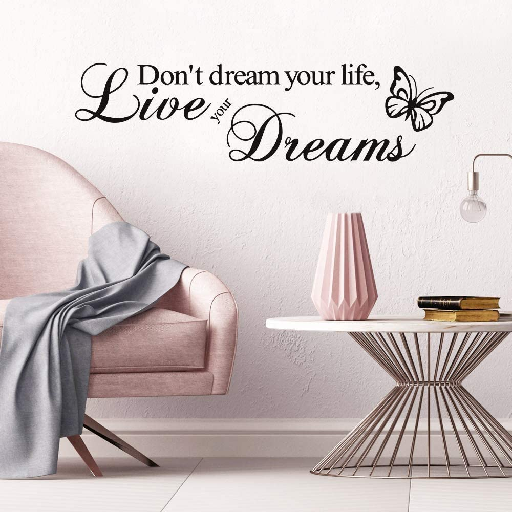 Supzone Don't Dream Your Life Live Your Dream Wall Decals Inspirational Lettering Sticker Quotes Sayings Wall Stickers Removable Vinyl Living Room Bedroom Nursery Room Butterfly Wall Decor