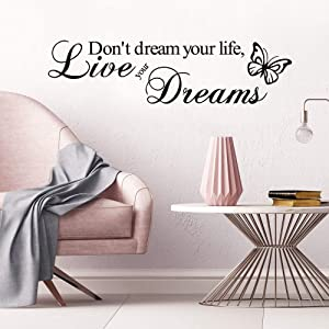Supzone Don't Dream Your Life,Live Your Dream Wall Decals Inspirational Quotes and Sayings Wall Stickers Removable Vinyl Art Living Room Bedroom Nursery Room Butterfly Wall Decor Lettering Sticker