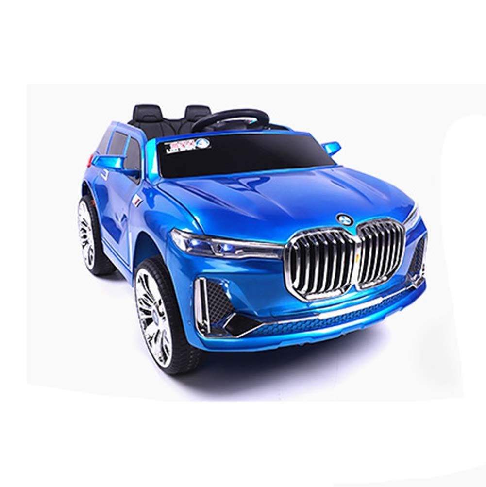 DDCX Auto elettrica per Bambini a Quattro Ruote di Grandi Dimensioni Possono sedersi Persone BMW Auto Giocattolo Uomini e Donne Bambino Telecomando Altalena Passeggino,blu