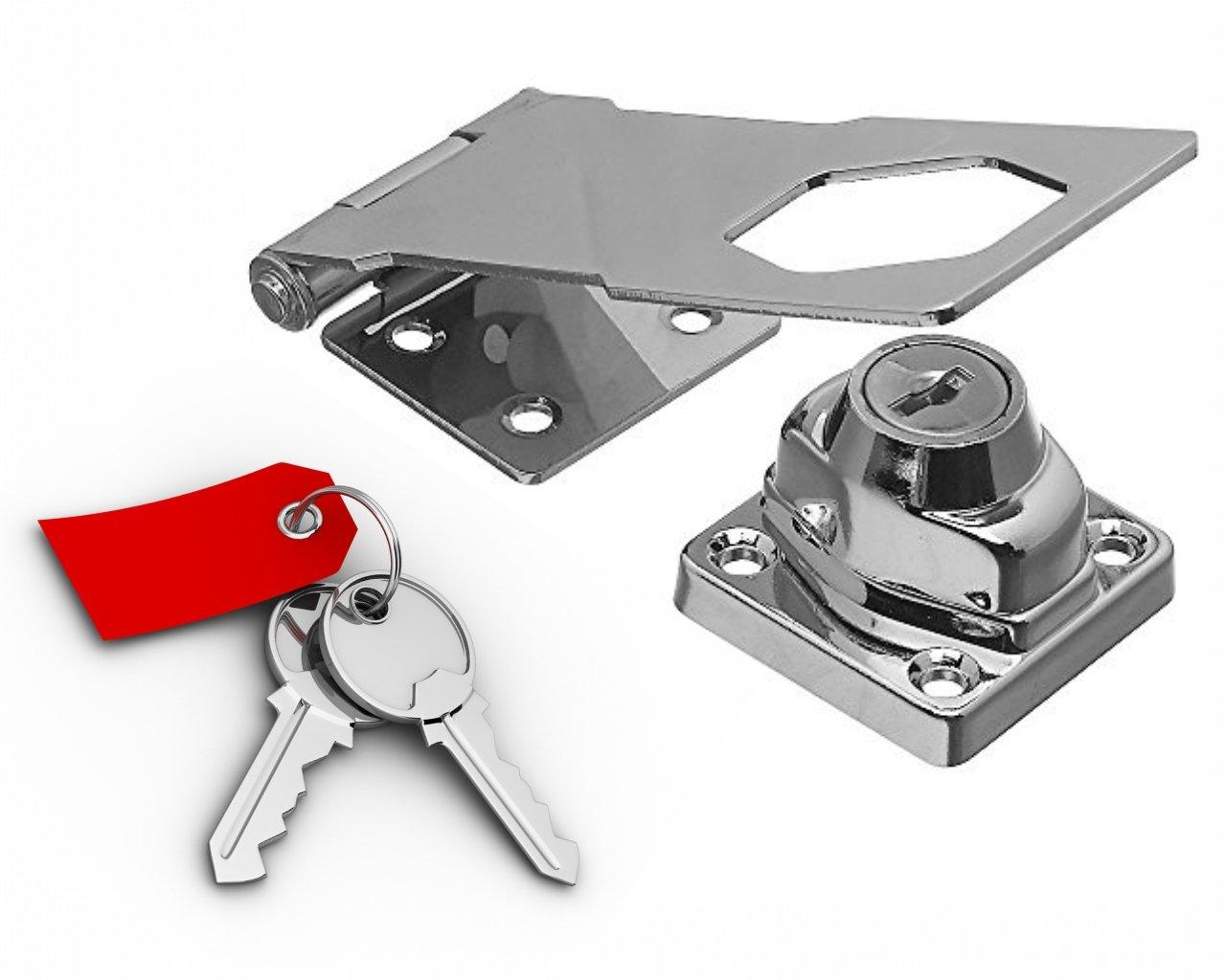 Keyed Hasp Lock : 4 1/2'' With Twist Knob : Keyed Alike : Chrome Plated Steel Metal : Uses Yale Keyway by T-Locks