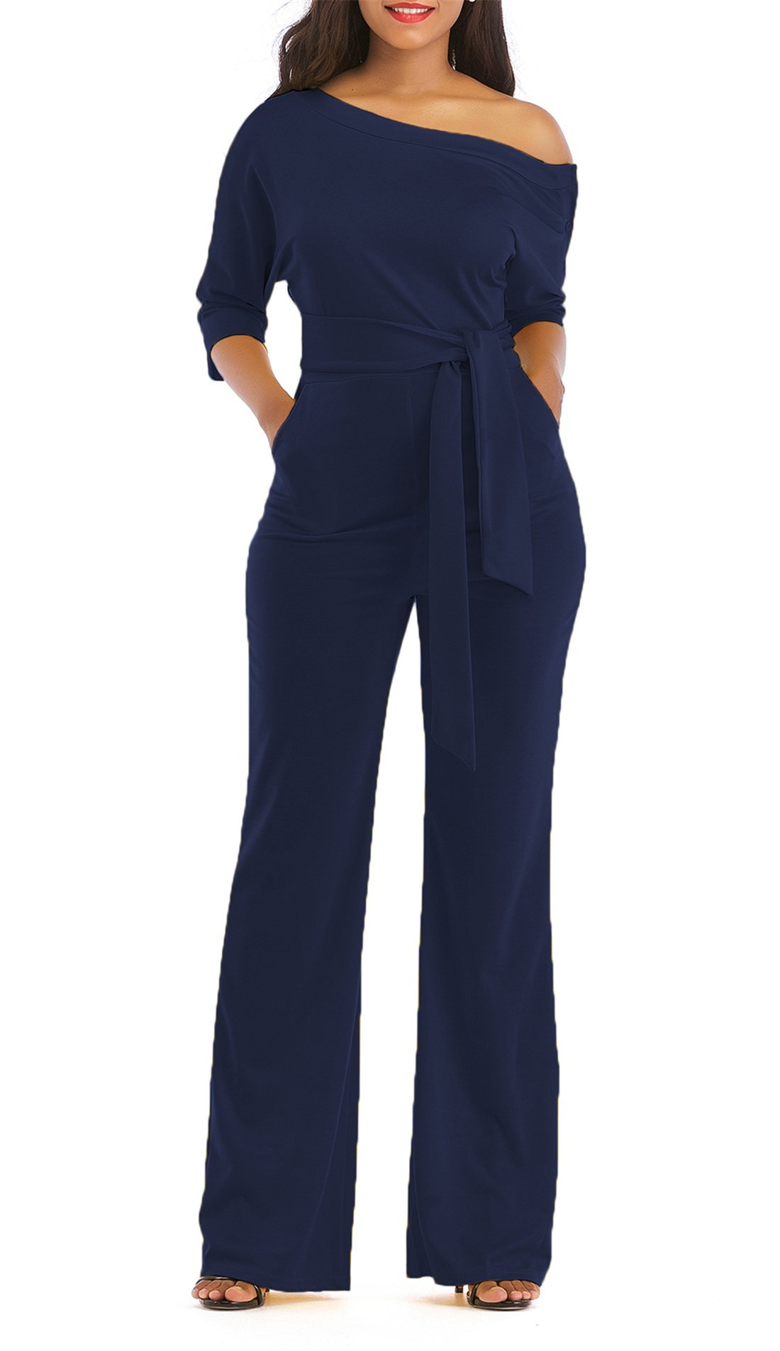 ONLYSHE Women's One Shoulder Short Sleeve Jumpsuit Rompers Long Pants Set with Belt Dark Blue Small