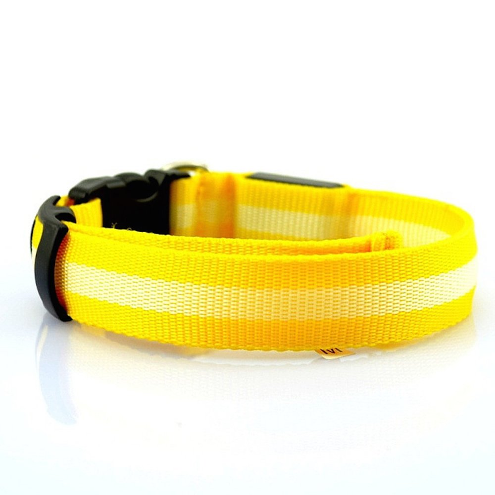 Yellow Small LED Dog Collar Glow Night Safety Adjustable 10  to 16  Neck Multi-Speed Light (Yellow)