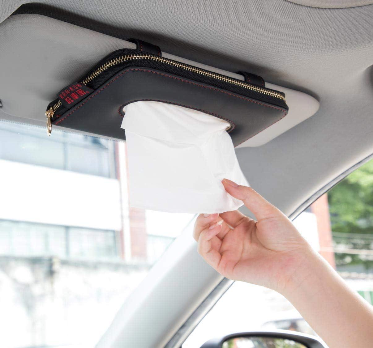 Car Decoration Sun Visor Tissue Box Car Tissue Box PU Leather Napkin Holder DS3